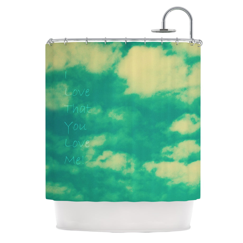 "Robin Dickinson ""I love that you love me"" Green Blue Shower Curtain - KESS InHouse"