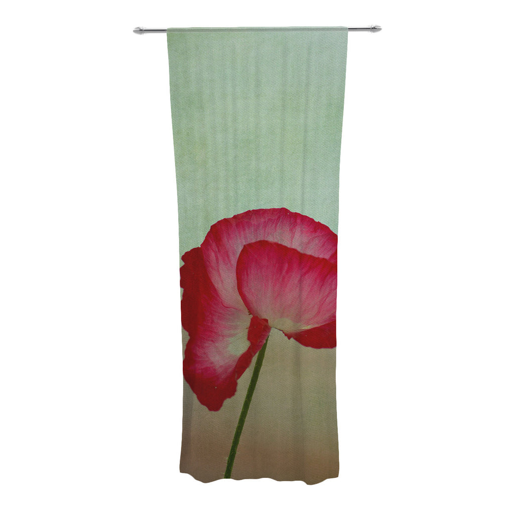 "Robin Dickinson ""La Te Da"" Magenta Poppies Decorative Sheer Curtains - KESS InHouse"