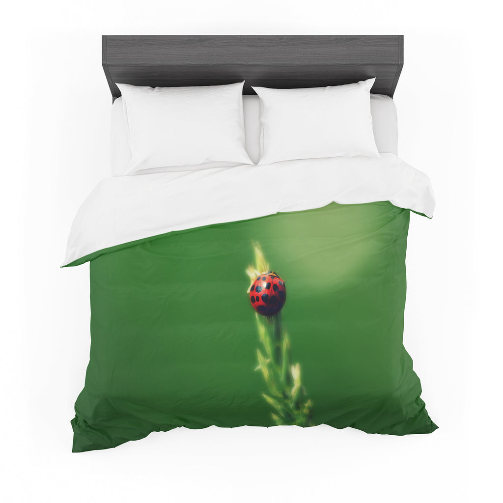 "Robin Dickinson ""Ladybug Hugs"" Green Cotton Duvet"