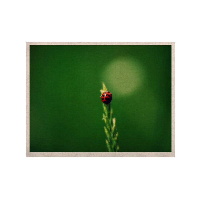 "Robin Dickinson ""Ladybug Hugs"" Green KESS Naturals Canvas (Frame not Included) - KESS InHouse  - 1"