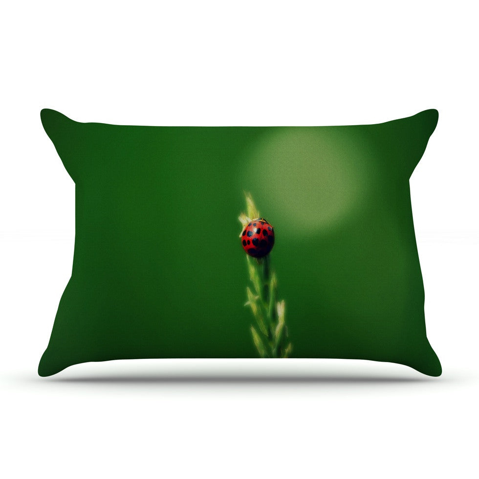 "Robin Dickinson ""Ladybug Hugs"" Green Pillow Sham - KESS InHouse"