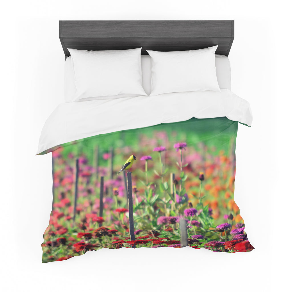 "Robin Dickinson ""Live in the Sunshine"" Green Red Cotton Duvet"