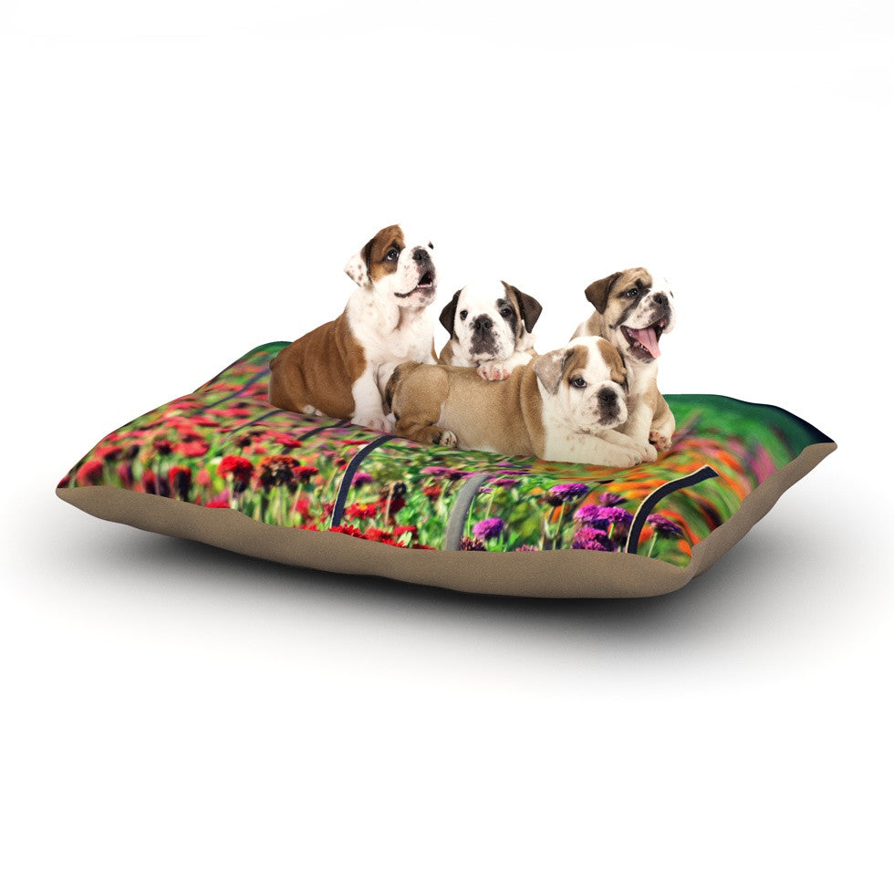 "Robin Dickinson ""Live in the Sunshine"" Green Red Dog Bed - KESS InHouse  - 1"