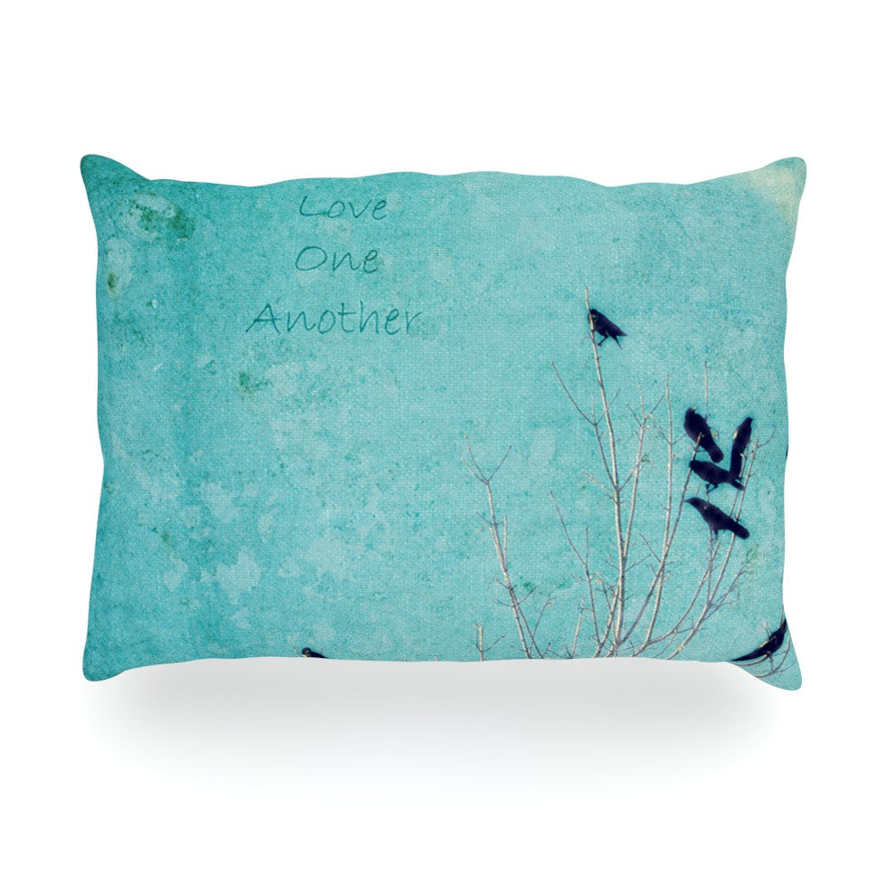 "Robin Dickinson ""Love One Another"" Blue Birds Oblong Pillow - KESS InHouse"