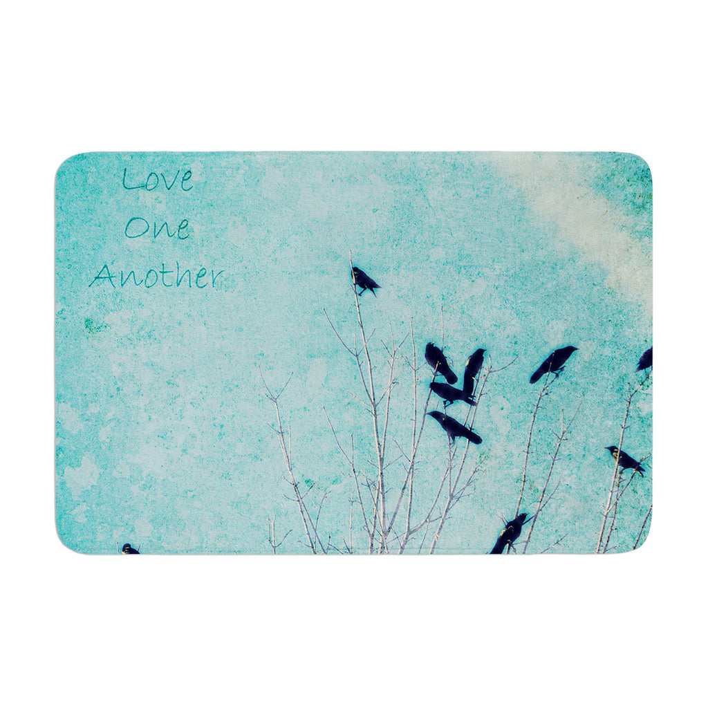 "Robin Dickinson ""Love One Another"" Blue Birds Memory Foam Bath Mat - KESS InHouse"