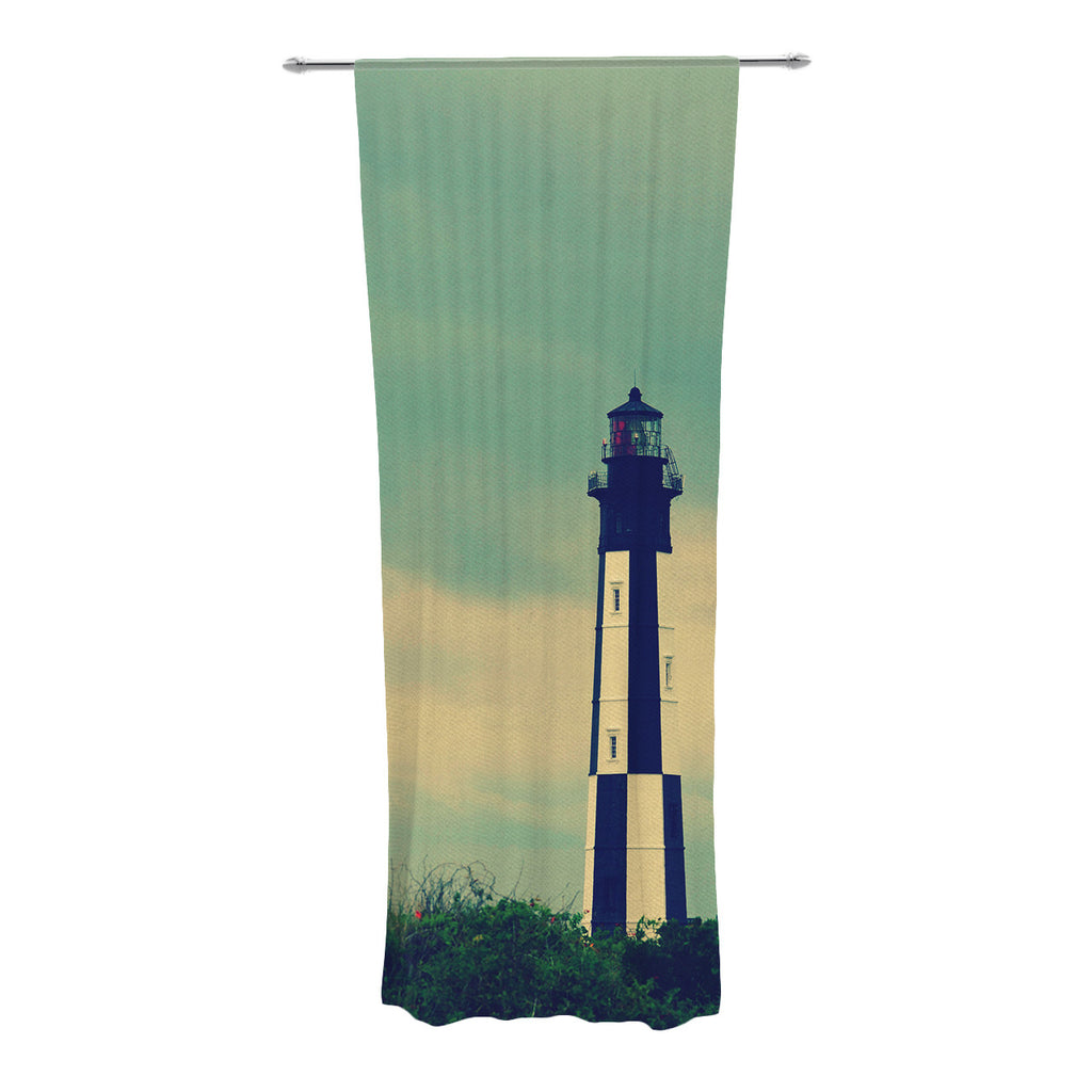 "Robin Dickinson ""New Cape Henry"" Lighthouse Decorative Sheer Curtains - KESS InHouse"