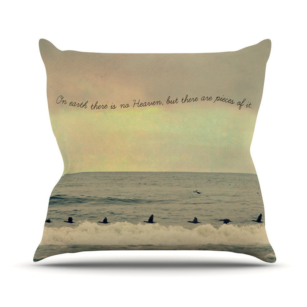 "Robin Dickinson ""Pieces of Heaven"" Tan Beach Outdoor Throw Pillow - KESS InHouse  - 1"