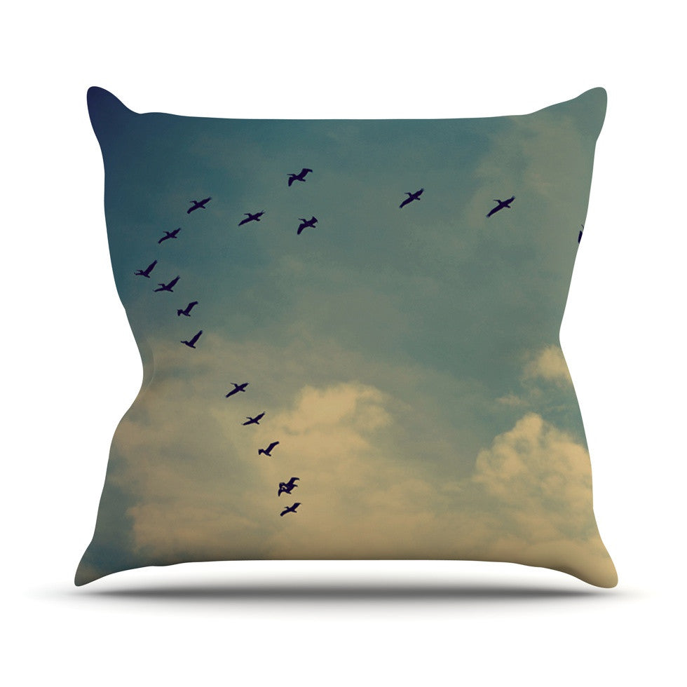 "Robin Dickinson ""Pterodactyls"" Blue Tan Outdoor Throw Pillow - KESS InHouse  - 1"