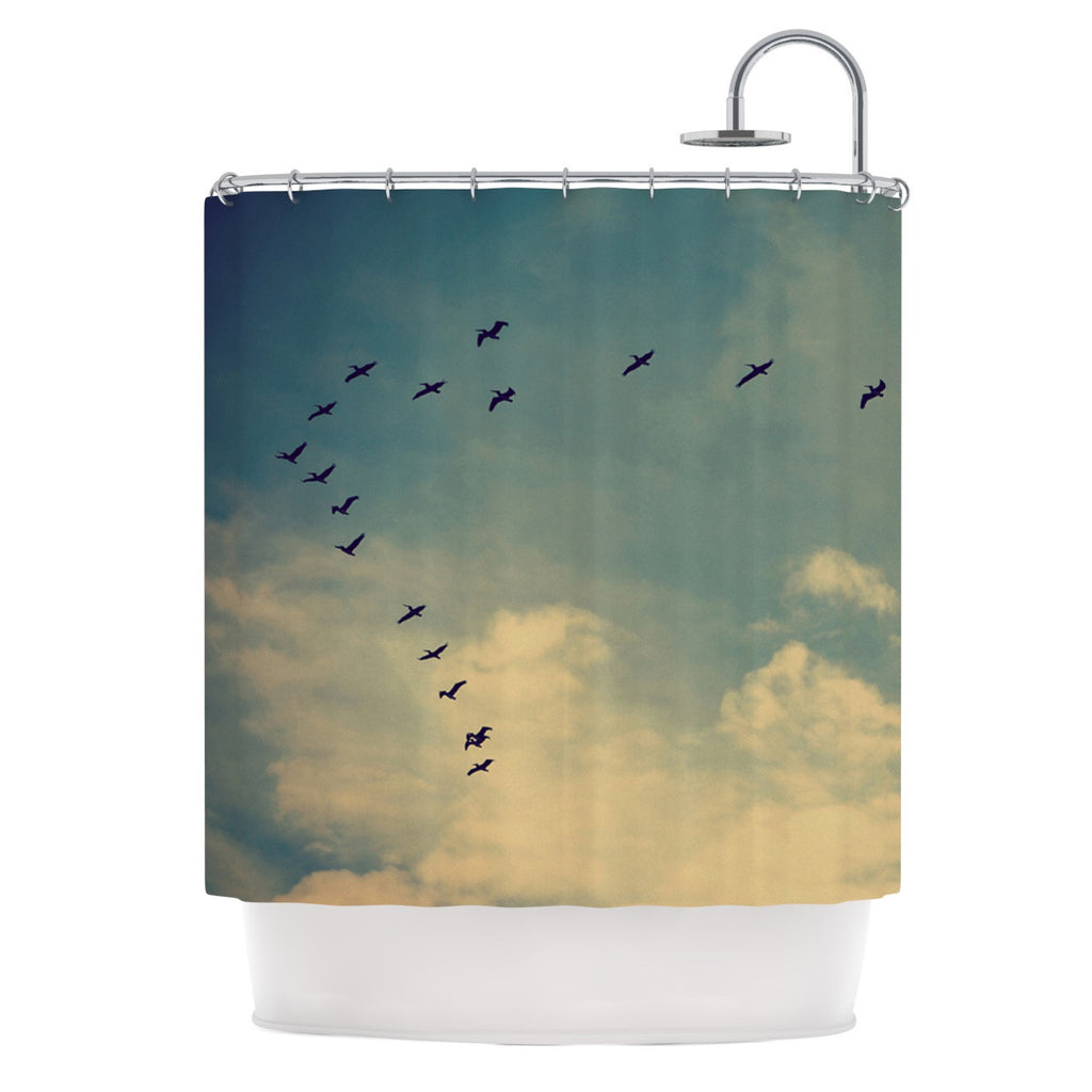 "Robin Dickinson ""Pterodactyls"" Blue Tan Shower Curtain - KESS InHouse"