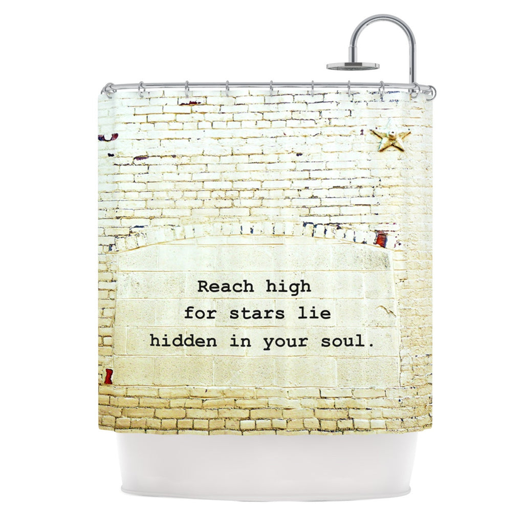 "Robin Dickinson ""Reach High"" Brick Wall Shower Curtain - KESS InHouse"