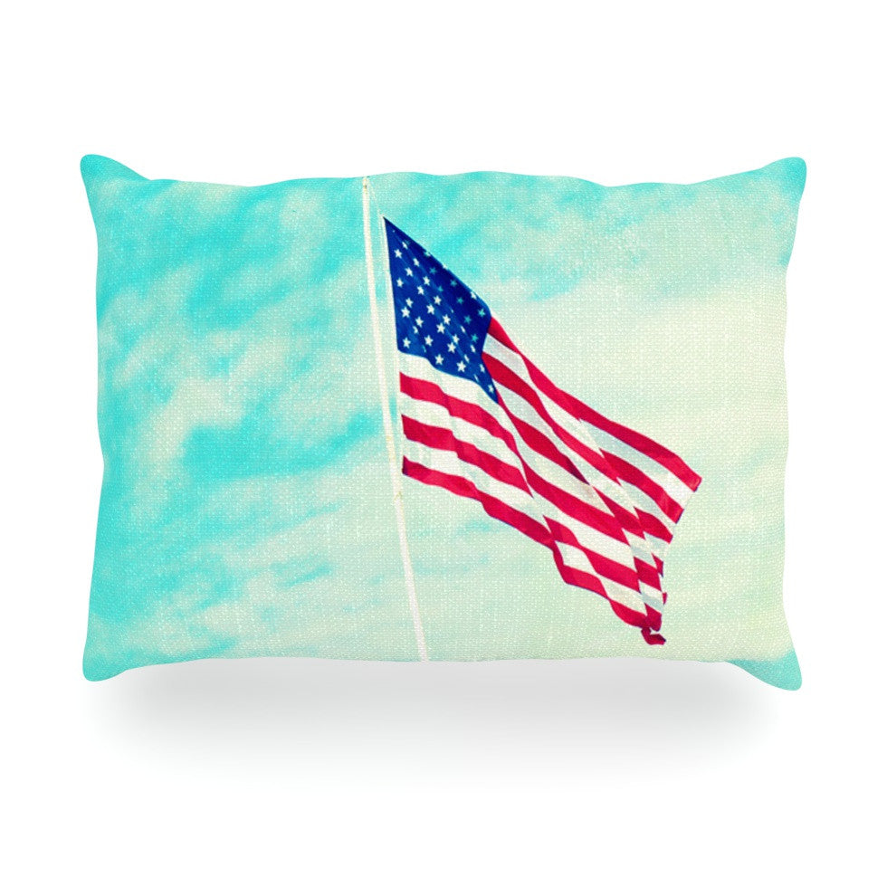"Robin Dickinson ""USA Colors"" Flag Oblong Pillow - KESS InHouse"