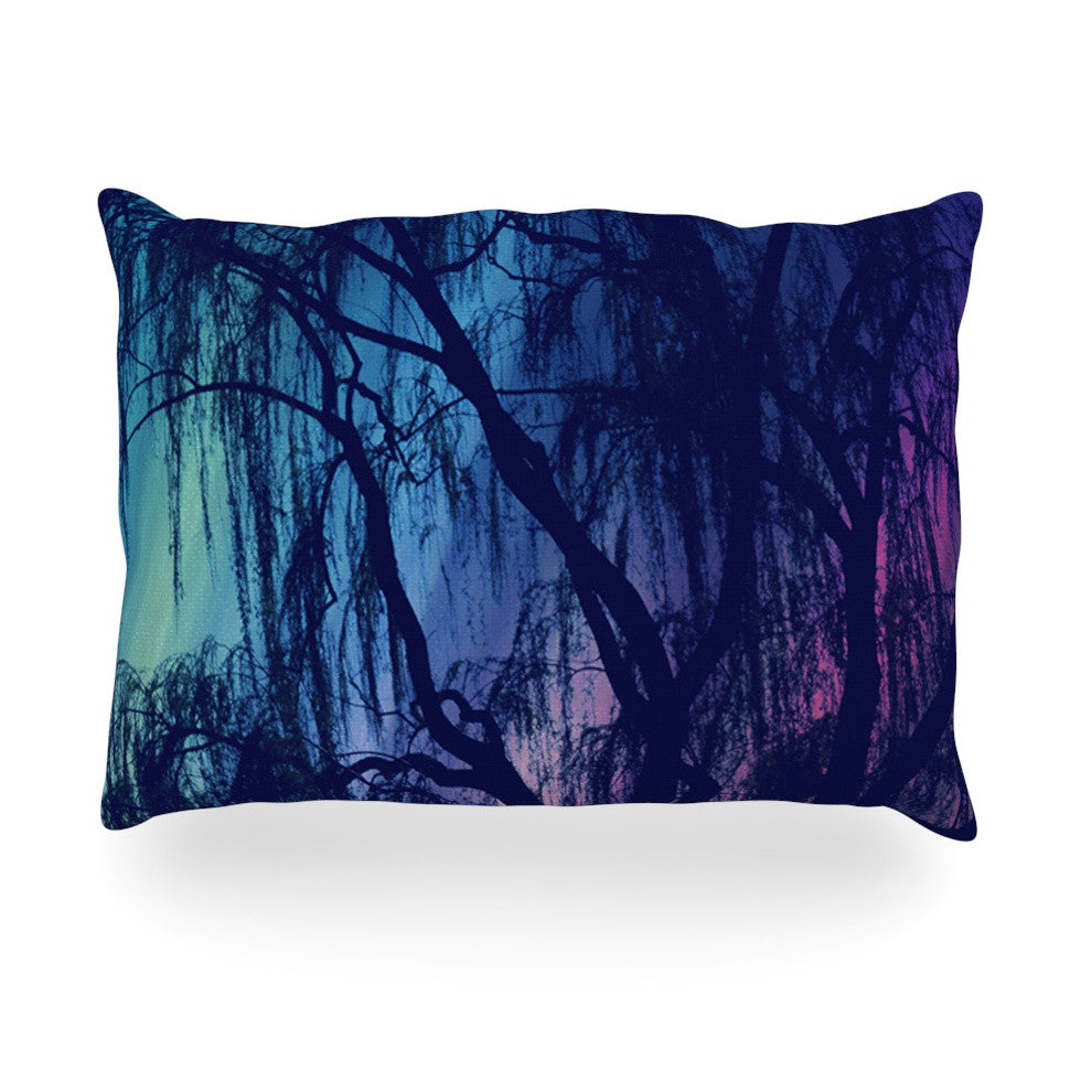 "Robin Dickinson ""Weeping"" Purple Tree Oblong Pillow - KESS InHouse"