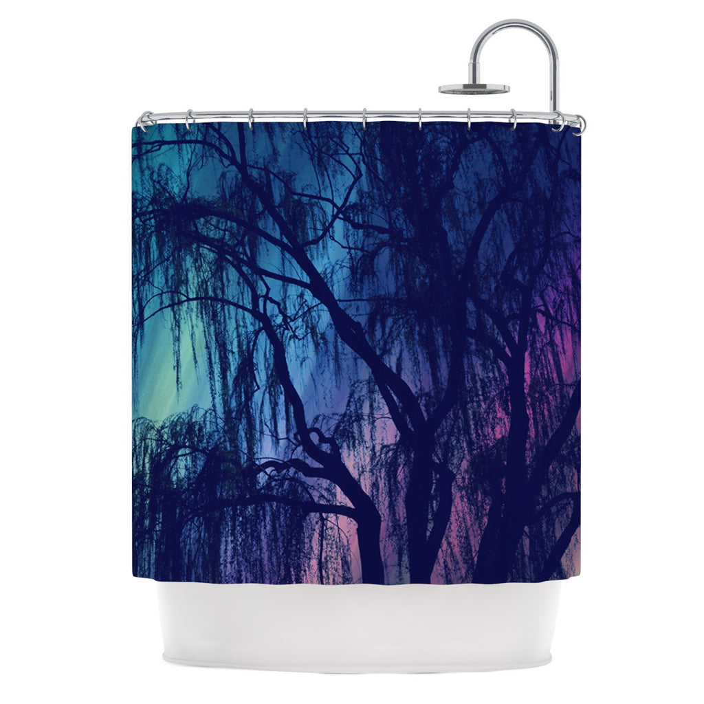 "Robin Dickinson ""Weeping"" Purple Tree Shower Curtain - KESS InHouse"