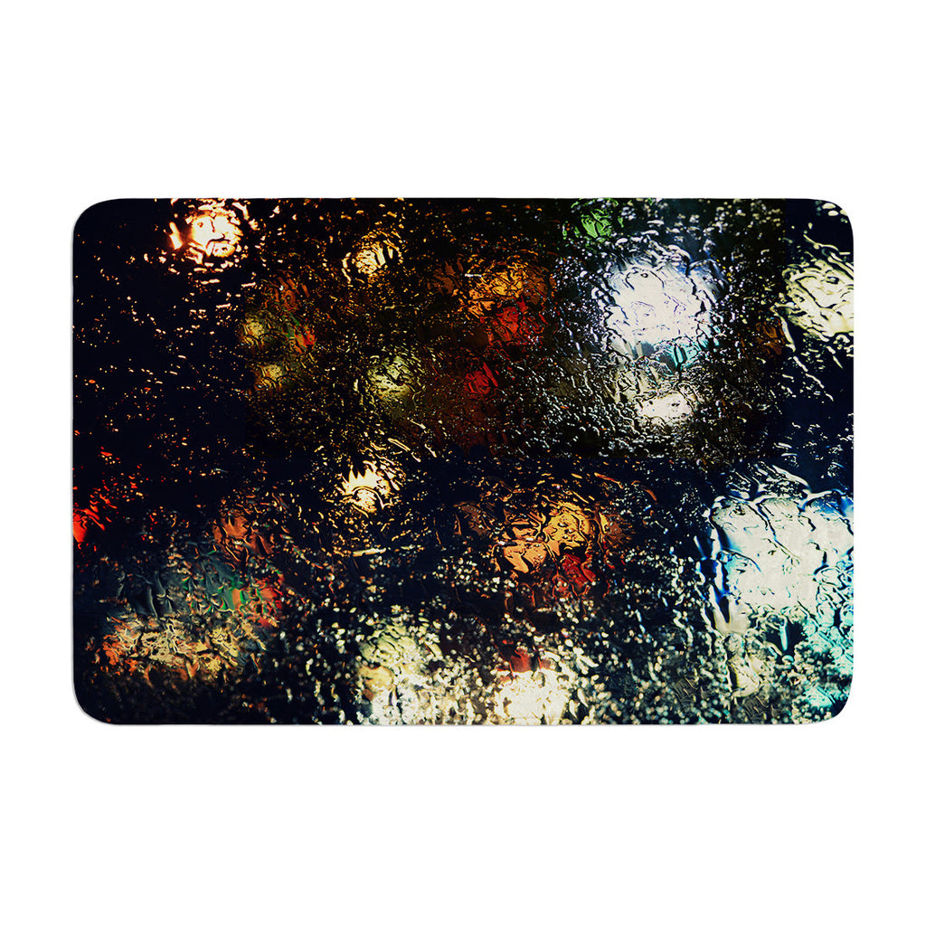 "Robin Dickinson ""Blinded"" Water Black Memory Foam Bath Mat - KESS InHouse"