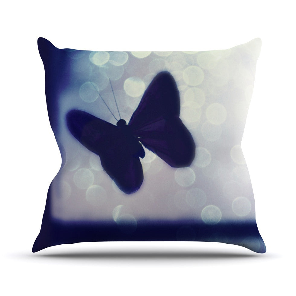 "Robin Dickinson ""Enchanted"" Lavender Butterfly Outdoor Throw Pillow - KESS InHouse  - 1"