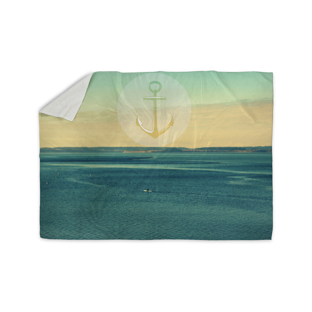"Robin Dickinson ""Row Your Own Boat"" Teal Ocean Sherpa Blanket - KESS InHouse  - 1"