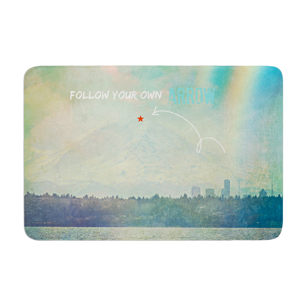 "Robin Dickinson ""Follow Your Own Arrow"" City Landscape Memory Foam Bath Mat - KESS InHouse"