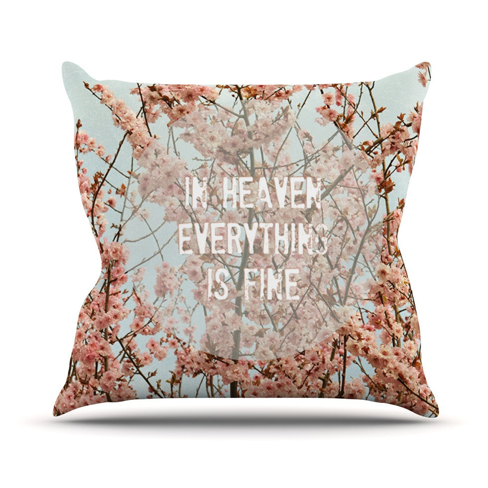 "Robin Dickinson ""In Heaven"" Cherry Blossom Outdoor Throw Pillow - KESS InHouse  - 1"