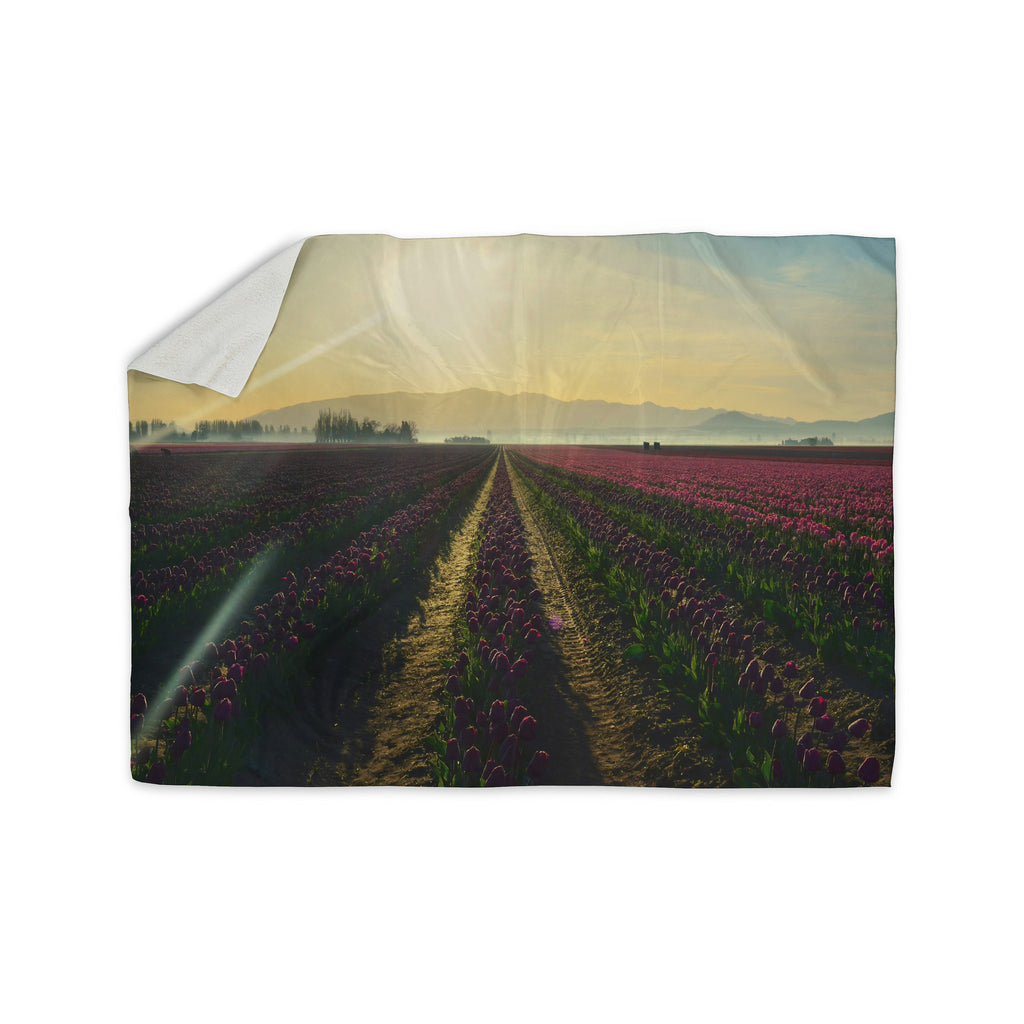 "Robin Dickinson ""Here Comes The Sun"" Flower Landscape Sherpa Blanket - KESS InHouse  - 1"