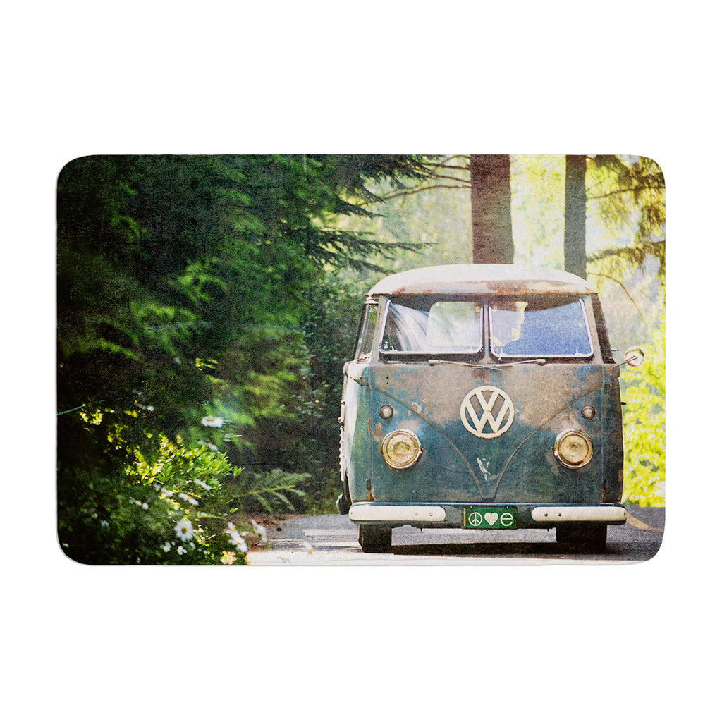 "Robin Dickinson ""Peace Love Nature"" Forest Memory Foam Bath Mat - KESS InHouse"