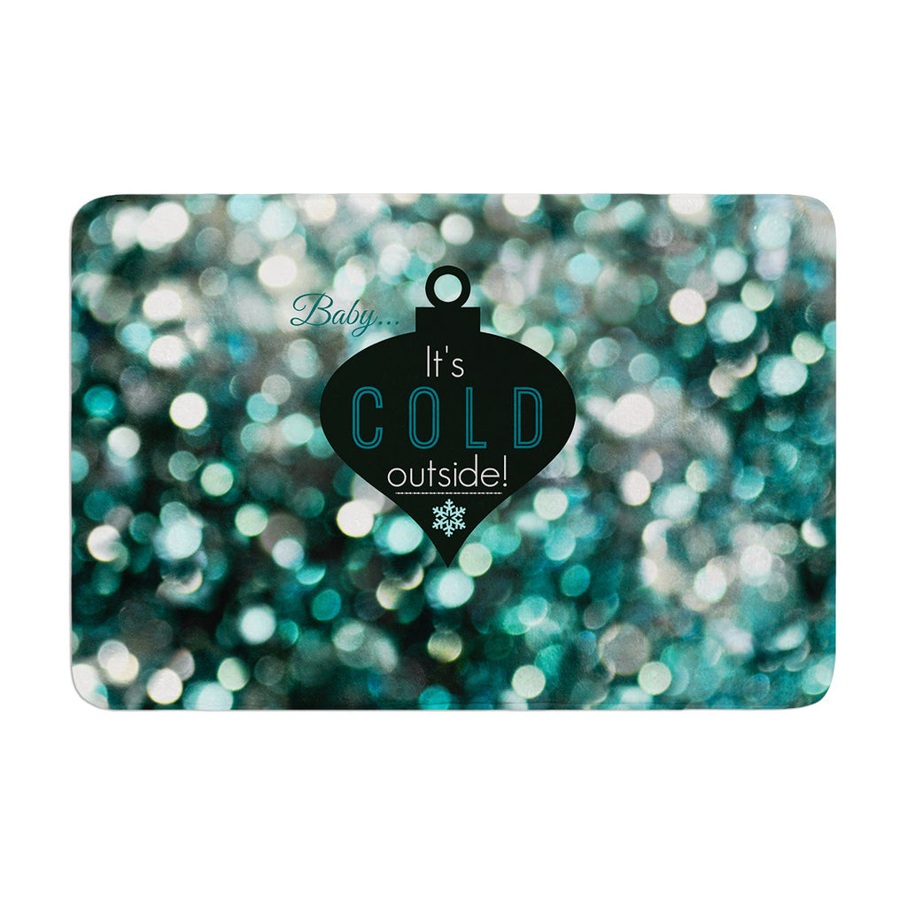 "Robin Dickinson ""It's Cold Outside"" Teal Memory Foam Bath Mat - KESS InHouse"