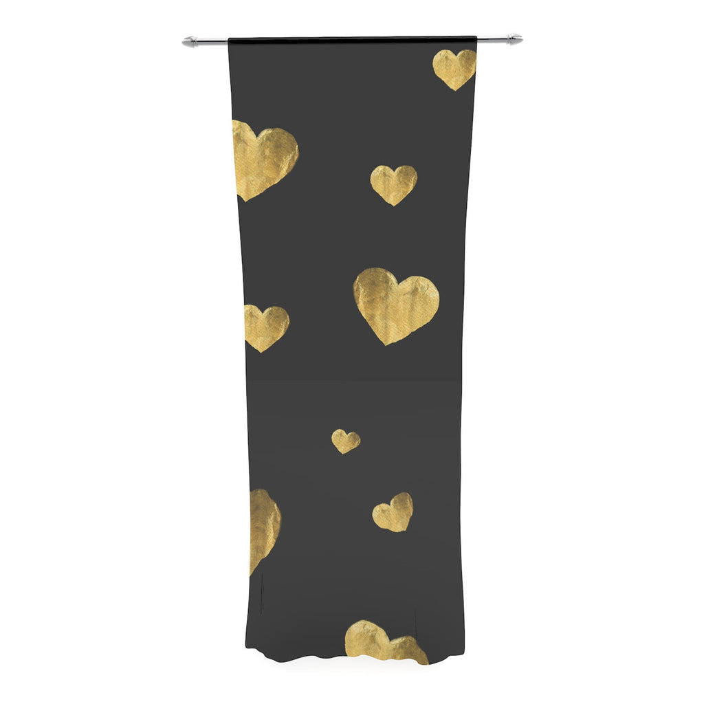 "Robin Dickinson ""Floating Hearts"" Gold Black Decorative Sheer Curtain - KESS InHouse  - 1"