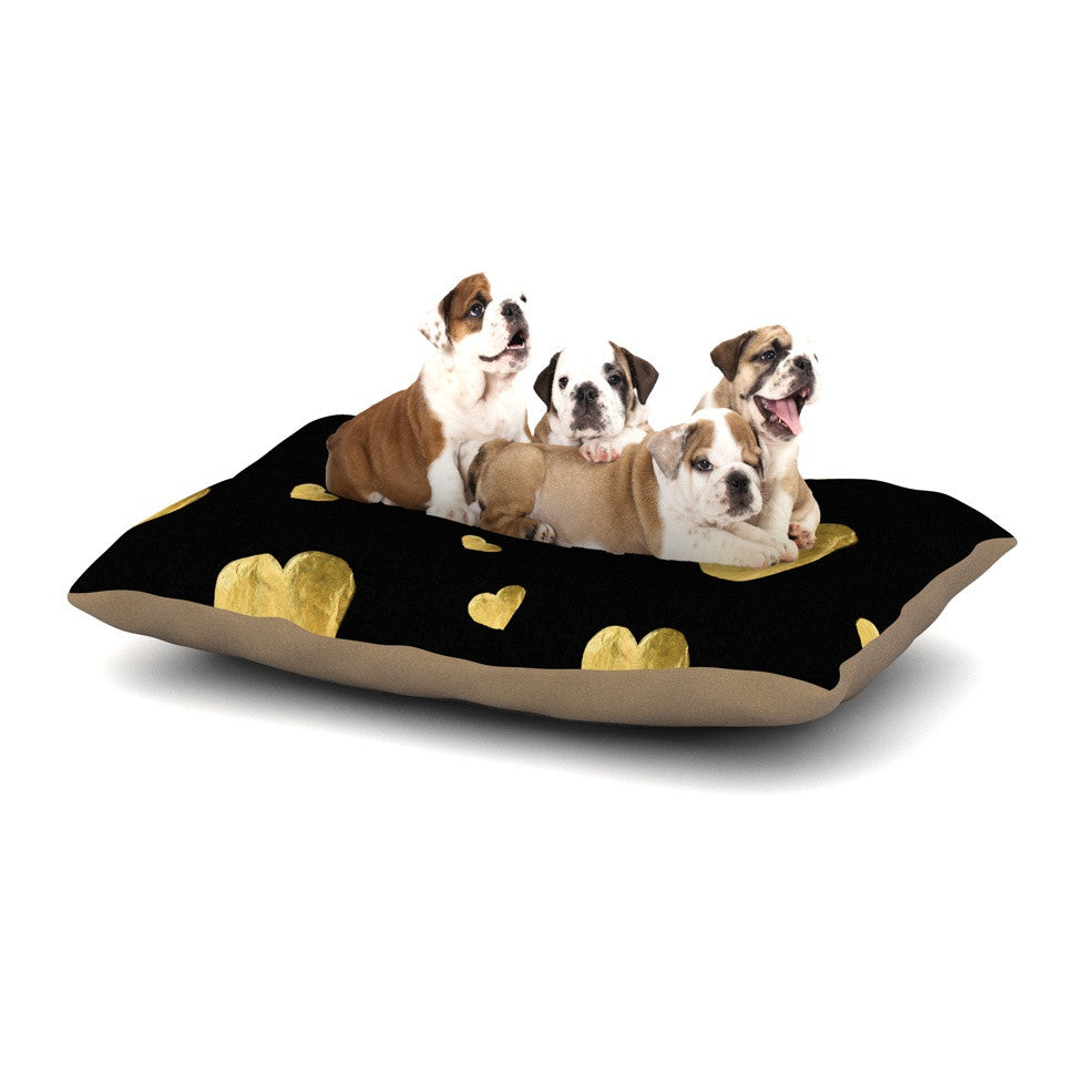 "Robin Dickinson ""Floating Hearts"" Gold Black Dog Bed - KESS InHouse  - 1"