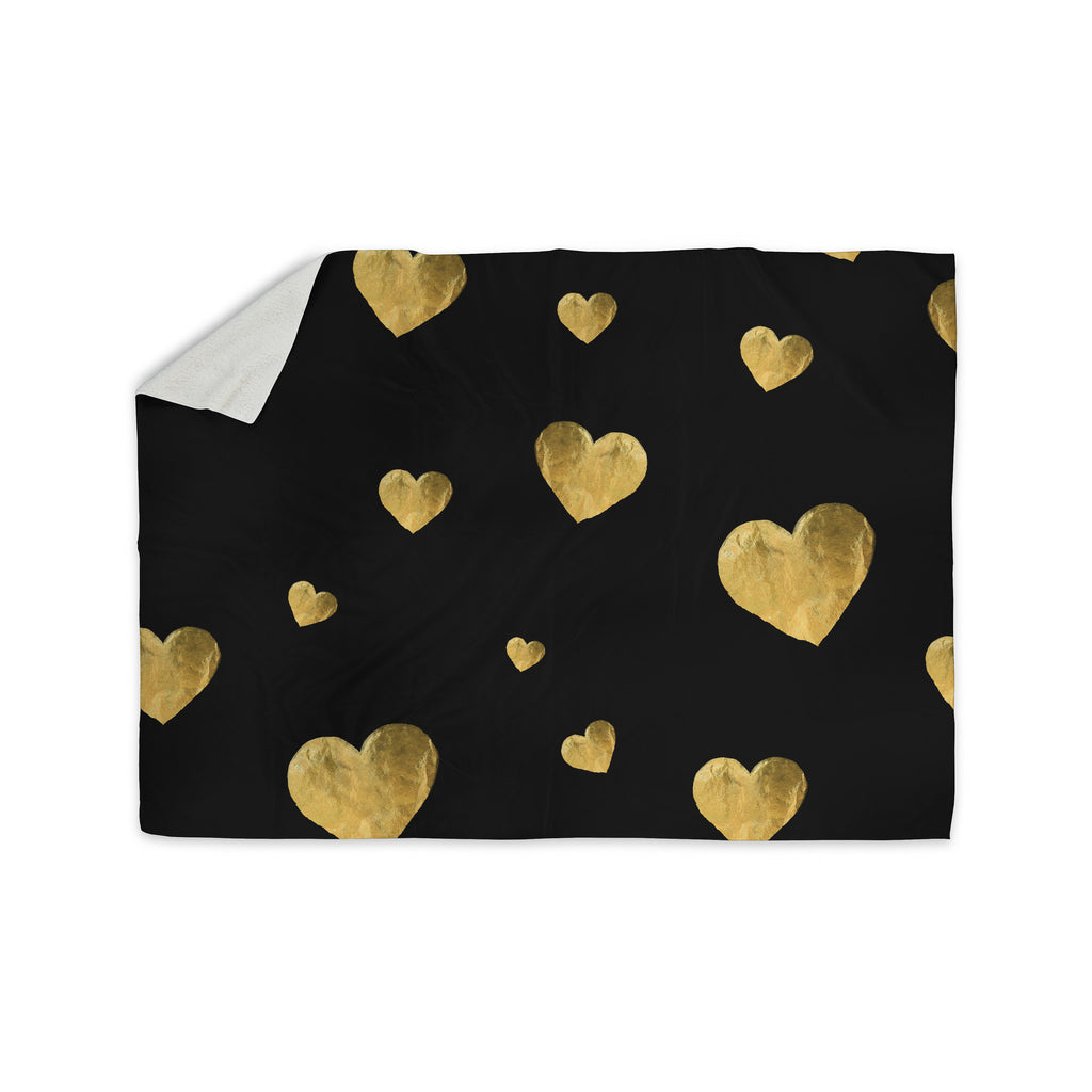 "Robin Dickinson ""Floating Hearts"" Gold Black Sherpa Blanket - KESS InHouse  - 1"
