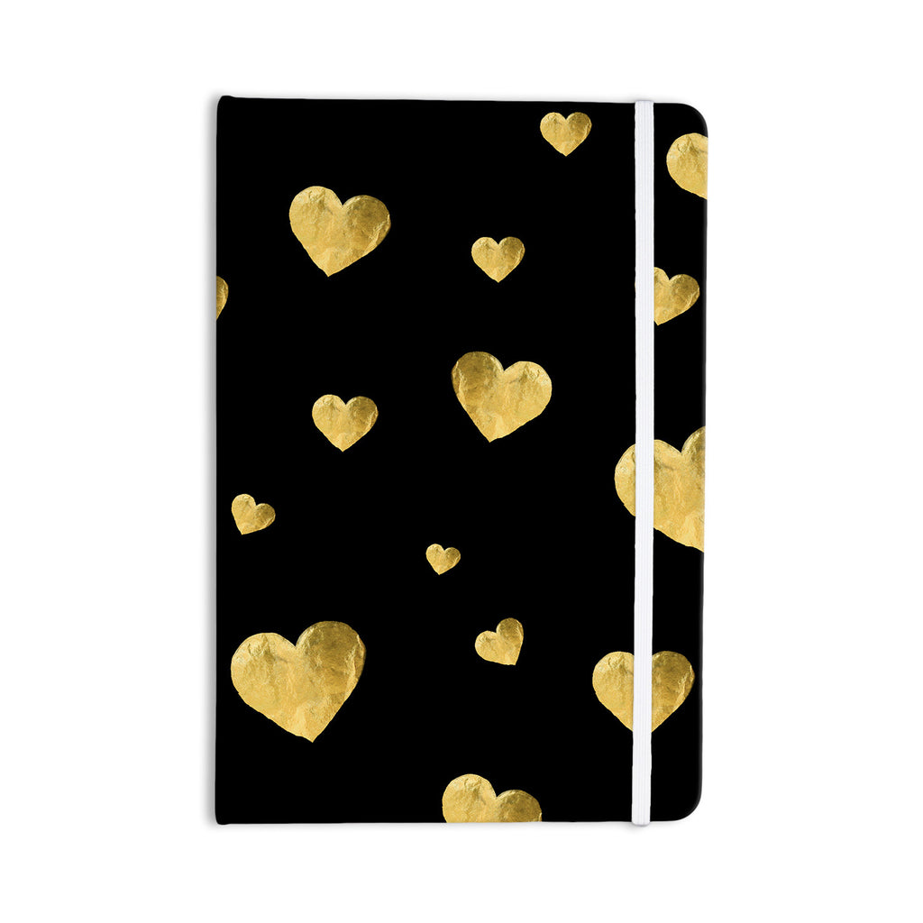 "Robin Dickinson ""Floating Hearts"" Gold Black Everything Notebook - KESS InHouse  - 1"