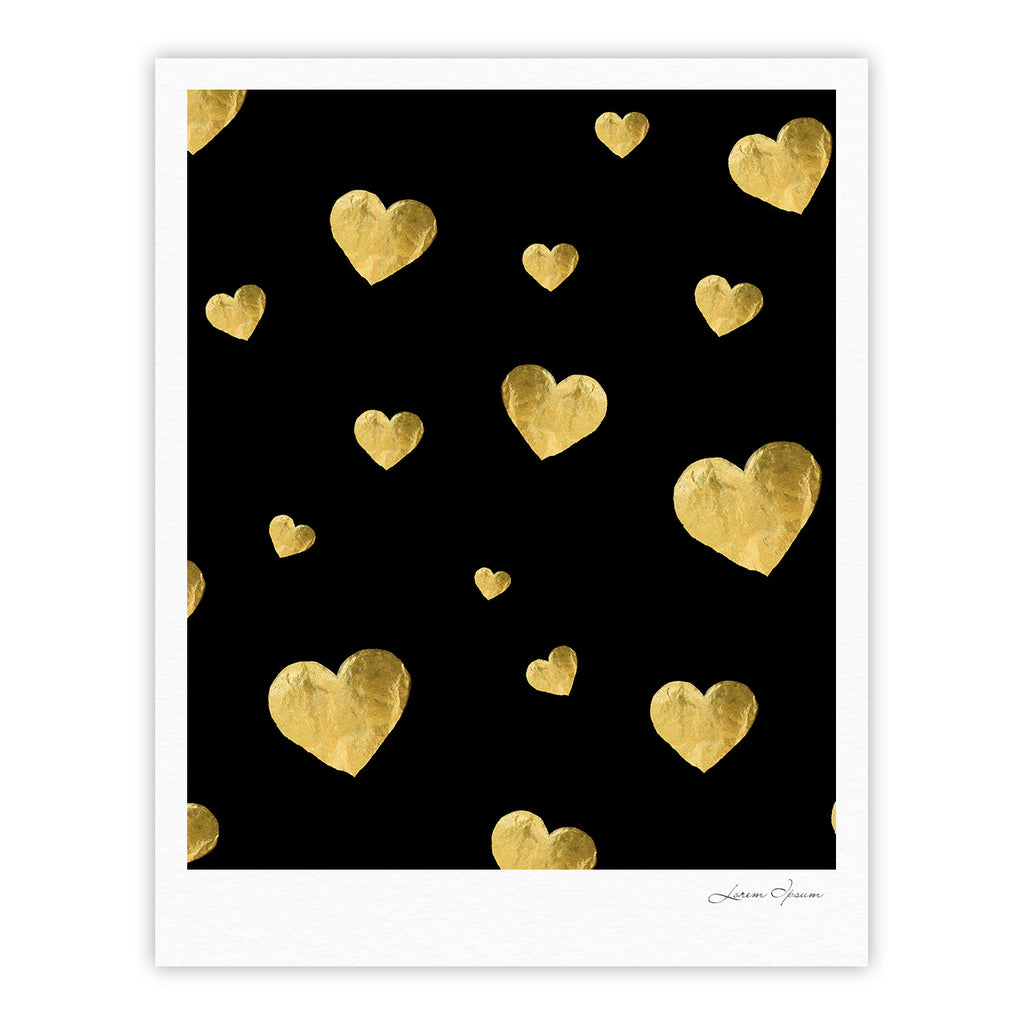 "Robin Dickinson ""Floating Hearts"" Gold Black Fine Art Gallery Print - KESS InHouse"