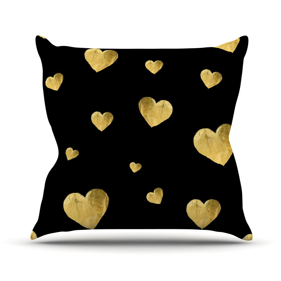 "Robin Dickinson ""Floating Hearts"" Gold Black Throw Pillow - KESS InHouse  - 1"