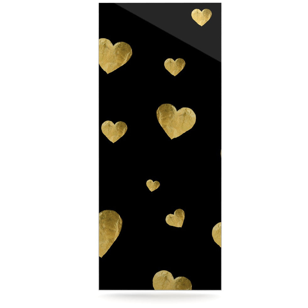 "Robin Dickinson ""Floating Hearts"" Gold Black Luxe Rectangle Panel - KESS InHouse  - 1"