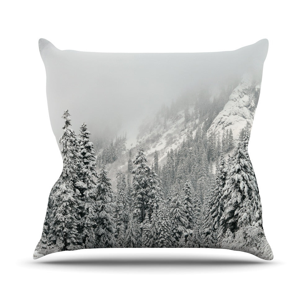 "Robin Dickinson ""Winter Wonderland"" White Gray Throw Pillow - KESS InHouse  - 1"