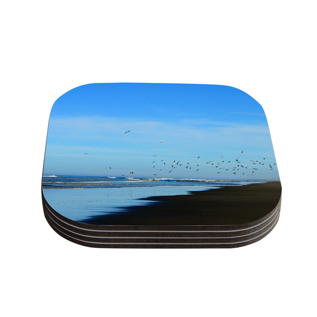 "Robin Dickinson ""Beach Hair"" Blue Coastal Coasters (Set of 4)"