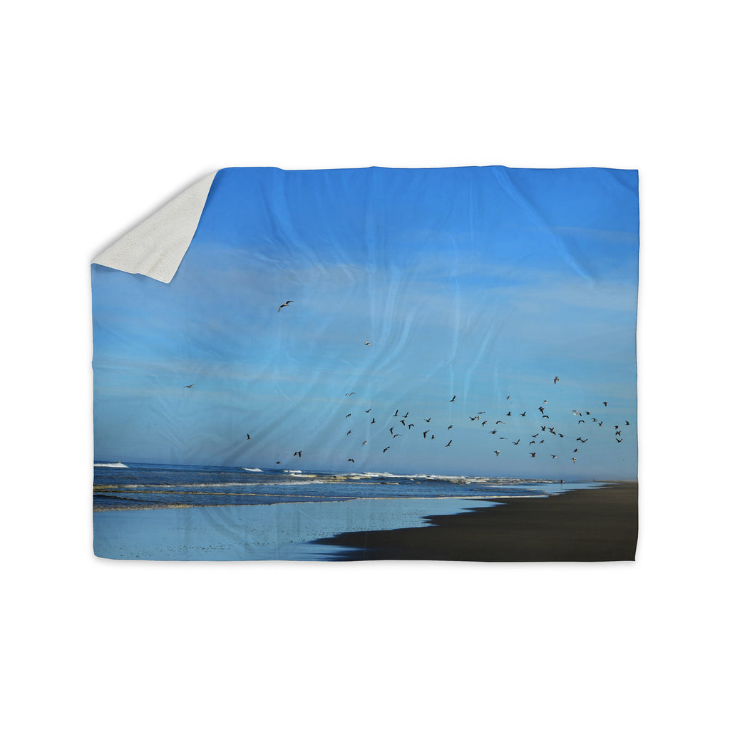 "Robin Dickinson ""Beach Hair"" Blue Coastal Sherpa Blanket - KESS InHouse  - 1"