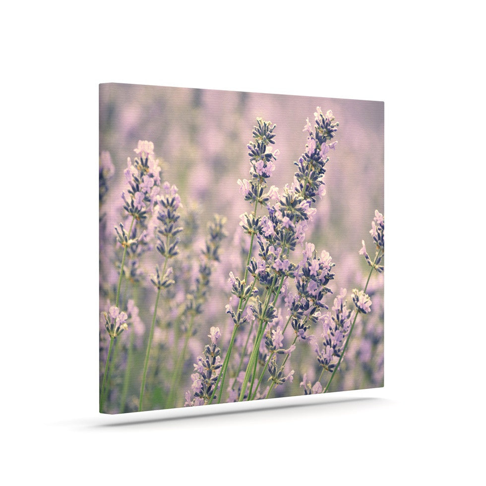 "Robin Dickinson ""Smell the Flowers"" Lavender Green Canvas Art - KESS InHouse  - 1"