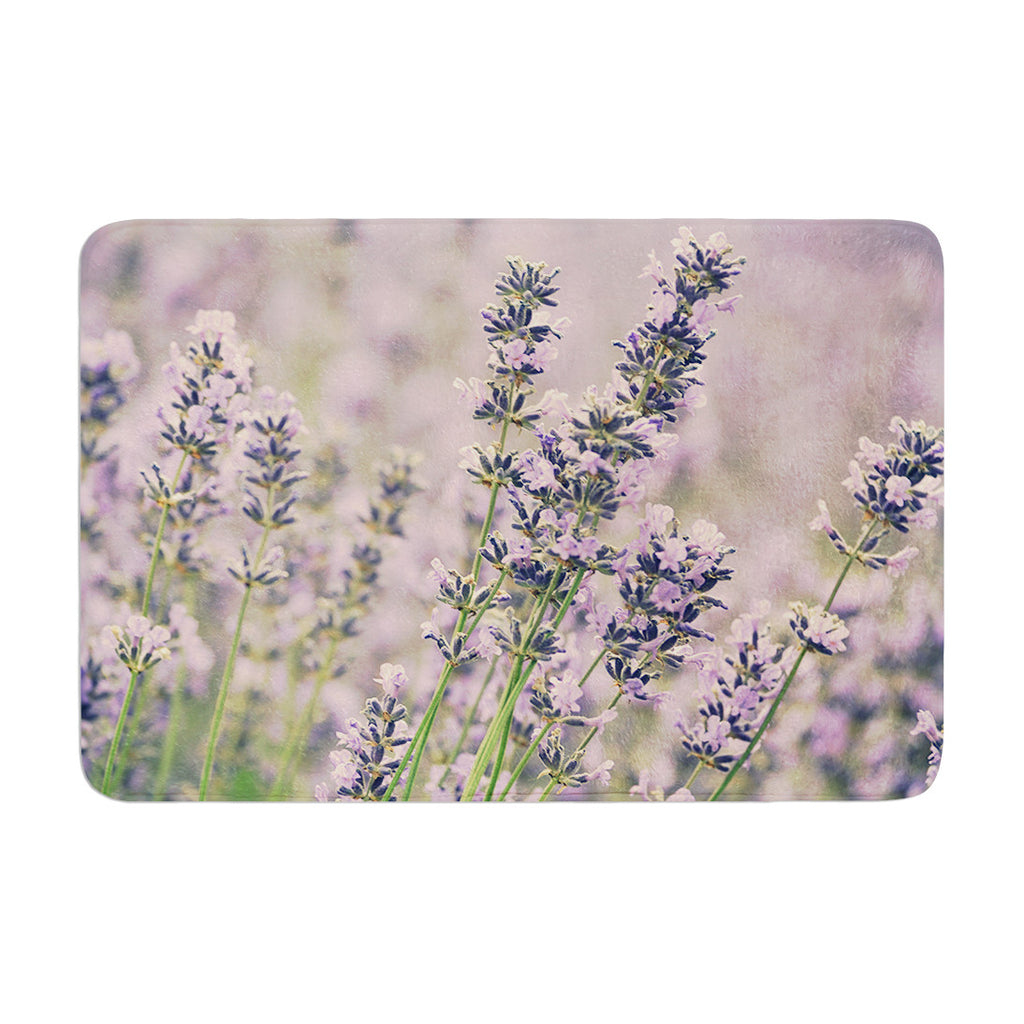 "Robin Dickinson ""Smell the Flowers"" Lavender Green Memory Foam Bath Mat - KESS InHouse"