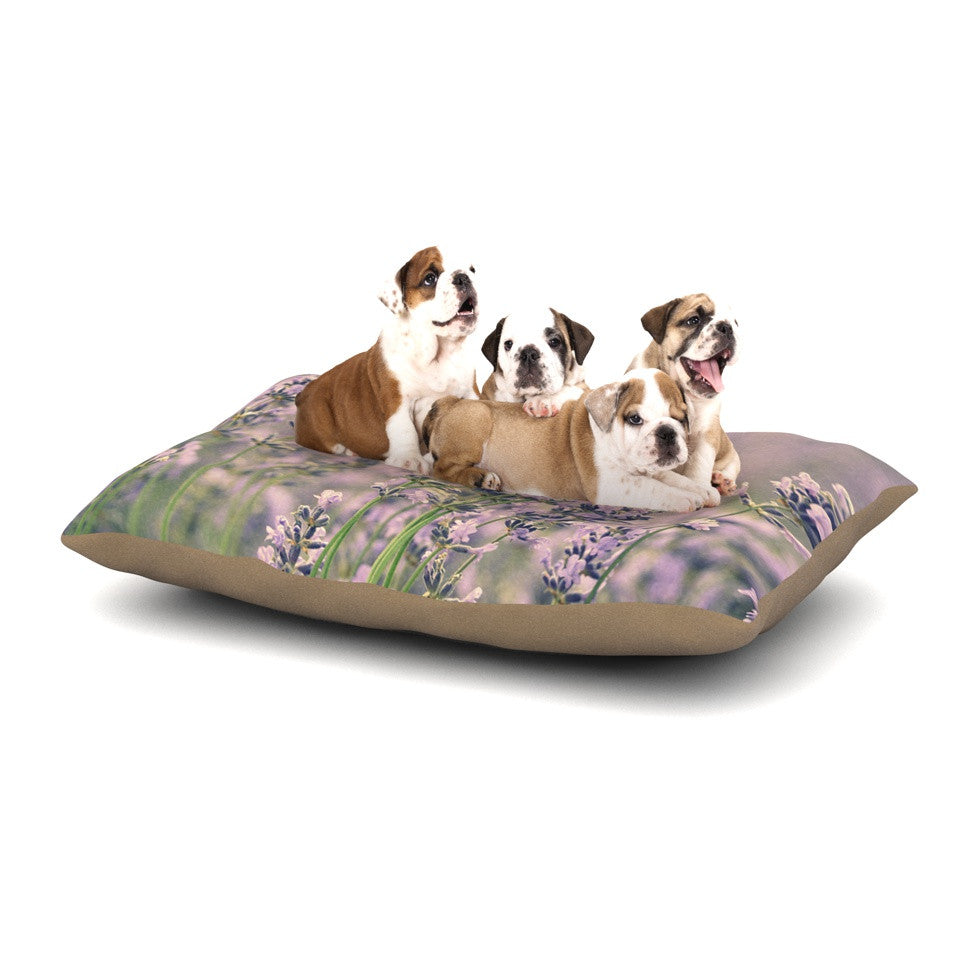 "Robin Dickinson ""Smell the Flowers"" Lavender Green Dog Bed - KESS InHouse  - 1"