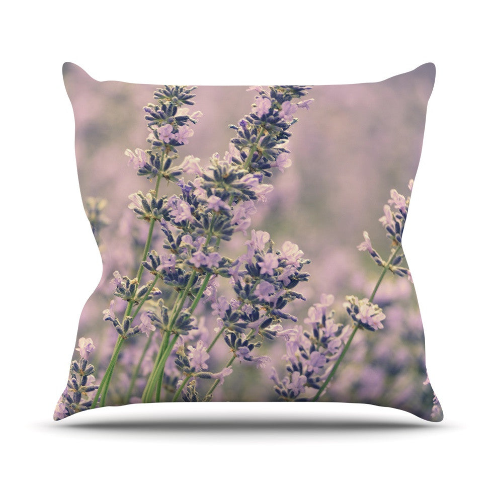 "Robin Dickinson ""Smell the Flowers"" Lavender Green Outdoor Throw Pillow - KESS InHouse  - 1"