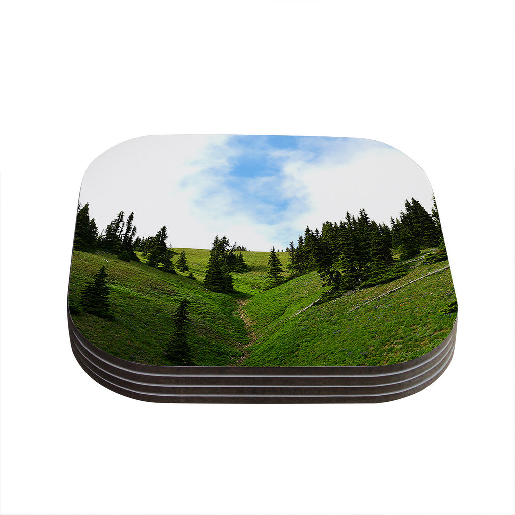 "Robin Dickinson ""Going to the Mountains"" Green Blue Coasters (Set of 4)"