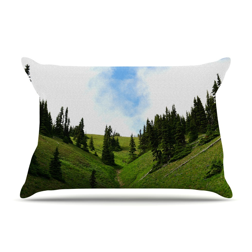 "Robin Dickinson ""Going to the Mountains"" Green Blue Pillow Sham - KESS InHouse"