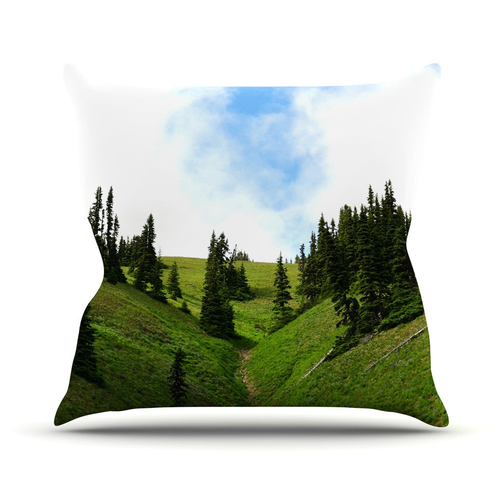"Robin Dickinson ""Going to the Mountains"" Green Blue Throw Pillow - KESS InHouse  - 1"