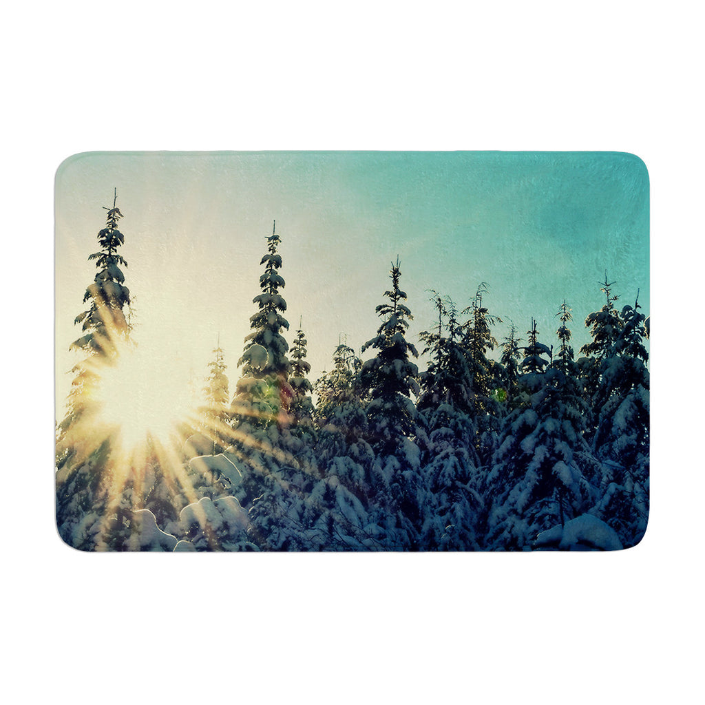"Robin Dickinson ""Shine Bright"" Snowy Trees Memory Foam Bath Mat - KESS InHouse"