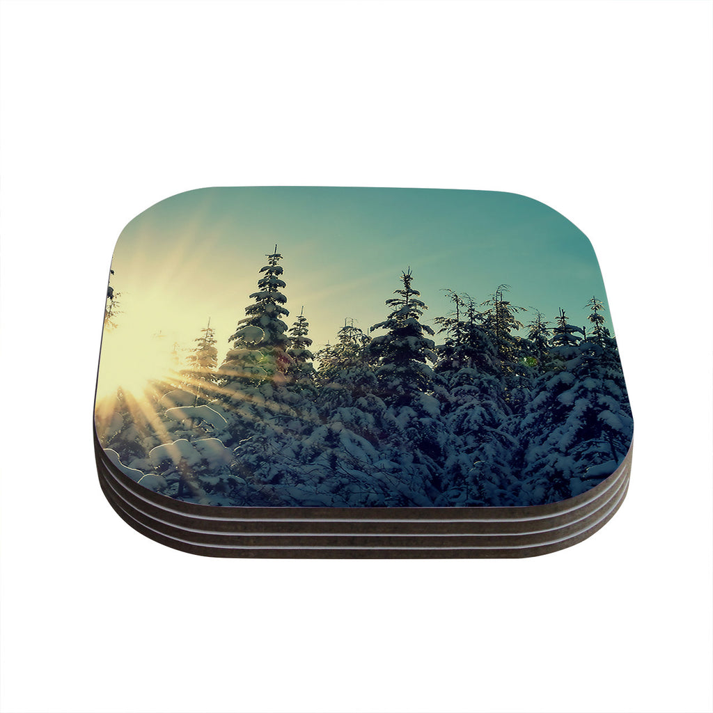 "Robin Dickinson ""Shine Bright"" Snowy Trees Coasters (Set of 4)"