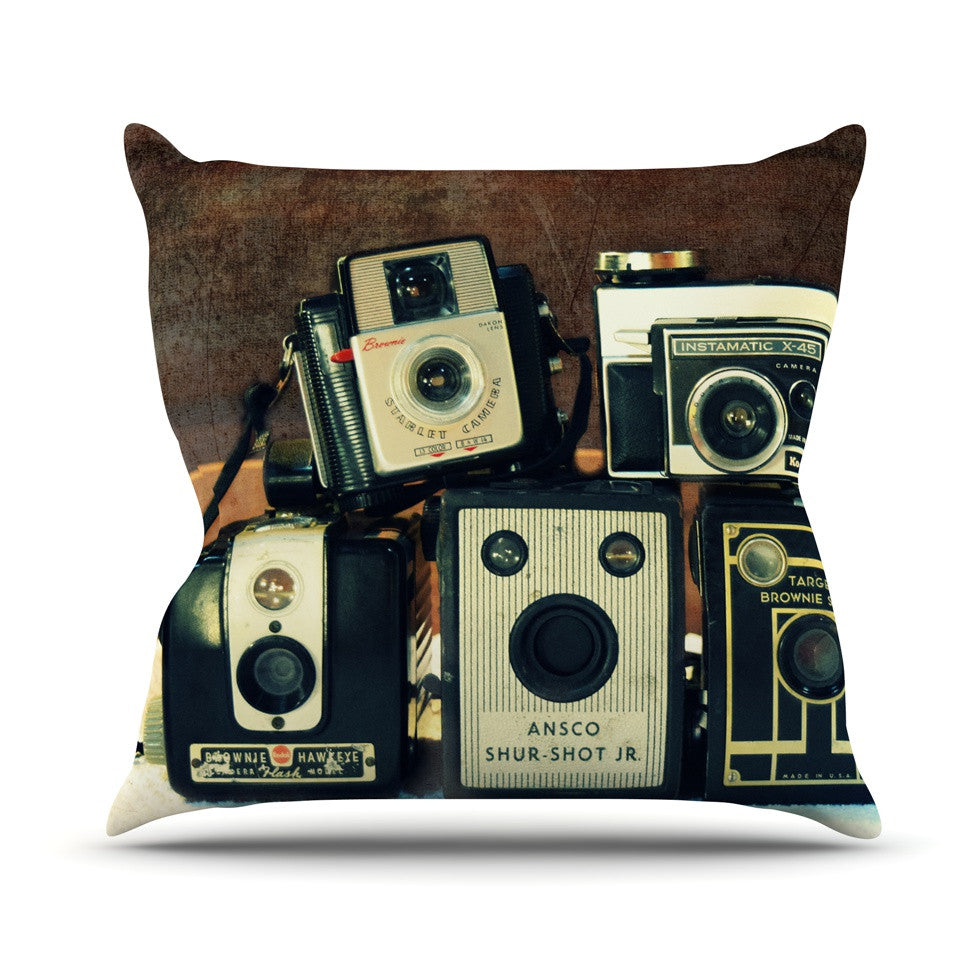 "Robin Dickinson ""Through the Years"" Vintage Camera Outdoor Throw Pillow - KESS InHouse  - 1"