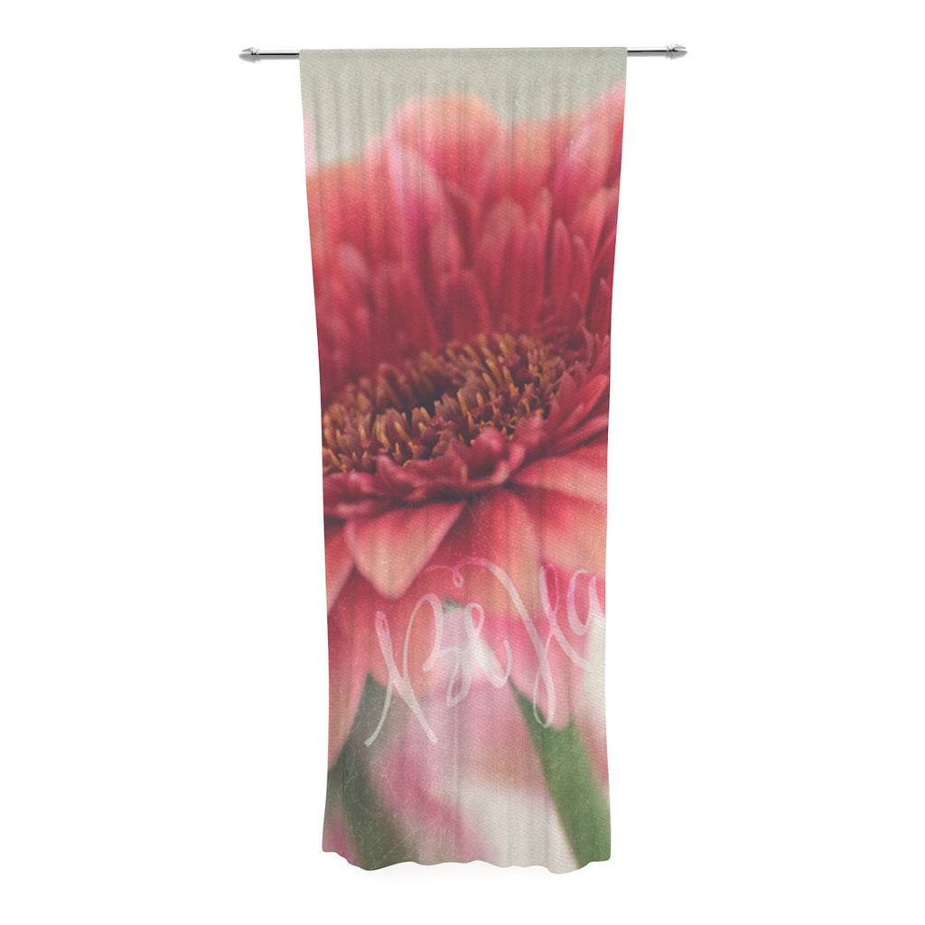 "Robin Dickinson ""Be Happy"" Pink Floral Decorative Sheer Curtain - KESS InHouse  - 1"