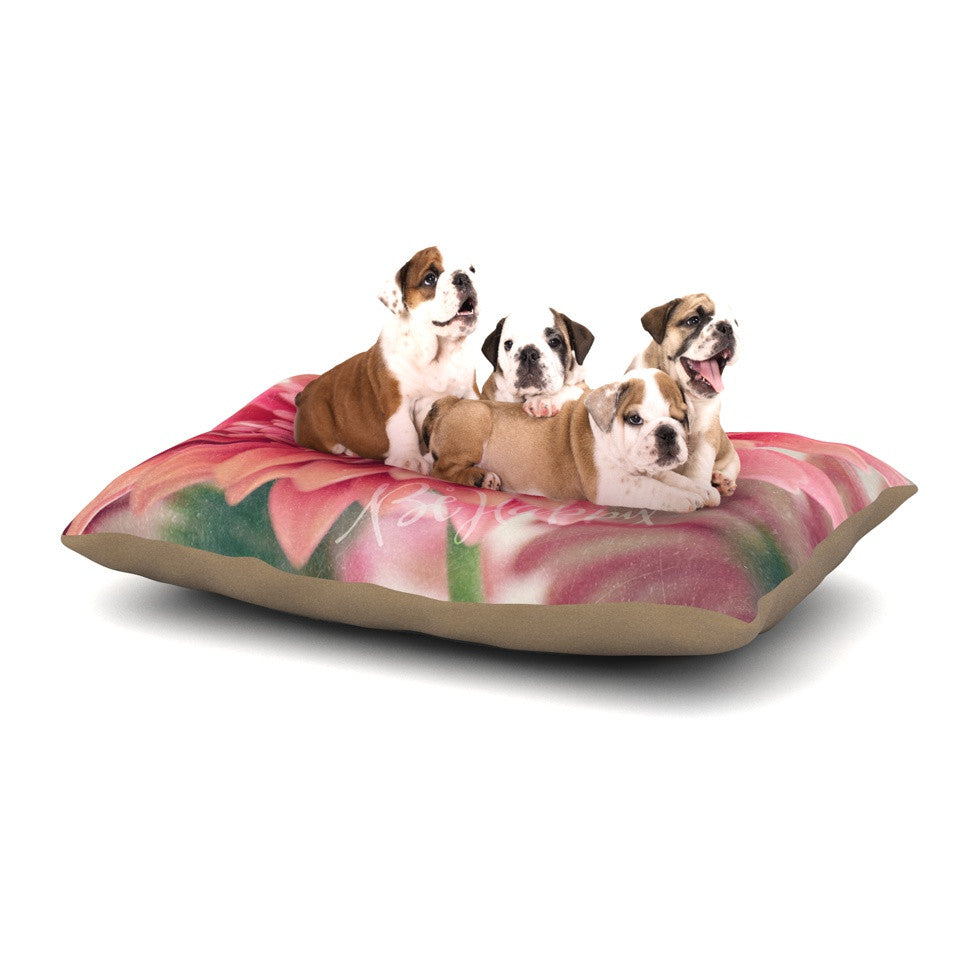 "Robin Dickinson ""Be Happy"" Pink Floral Dog Bed - KESS InHouse  - 1"