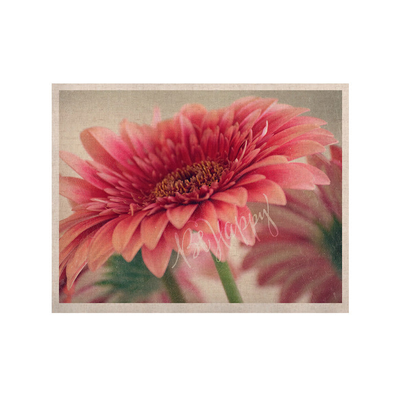 "Robin Dickinson ""Be Happy"" Pink Floral KESS Naturals Canvas (Frame not Included) - KESS InHouse  - 1"