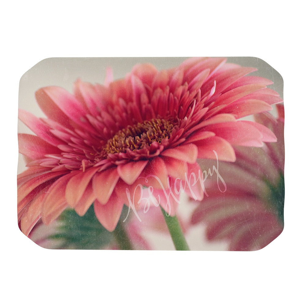 "Robin Dickinson ""Be Happy"" Pink Floral Place Mat - KESS InHouse"