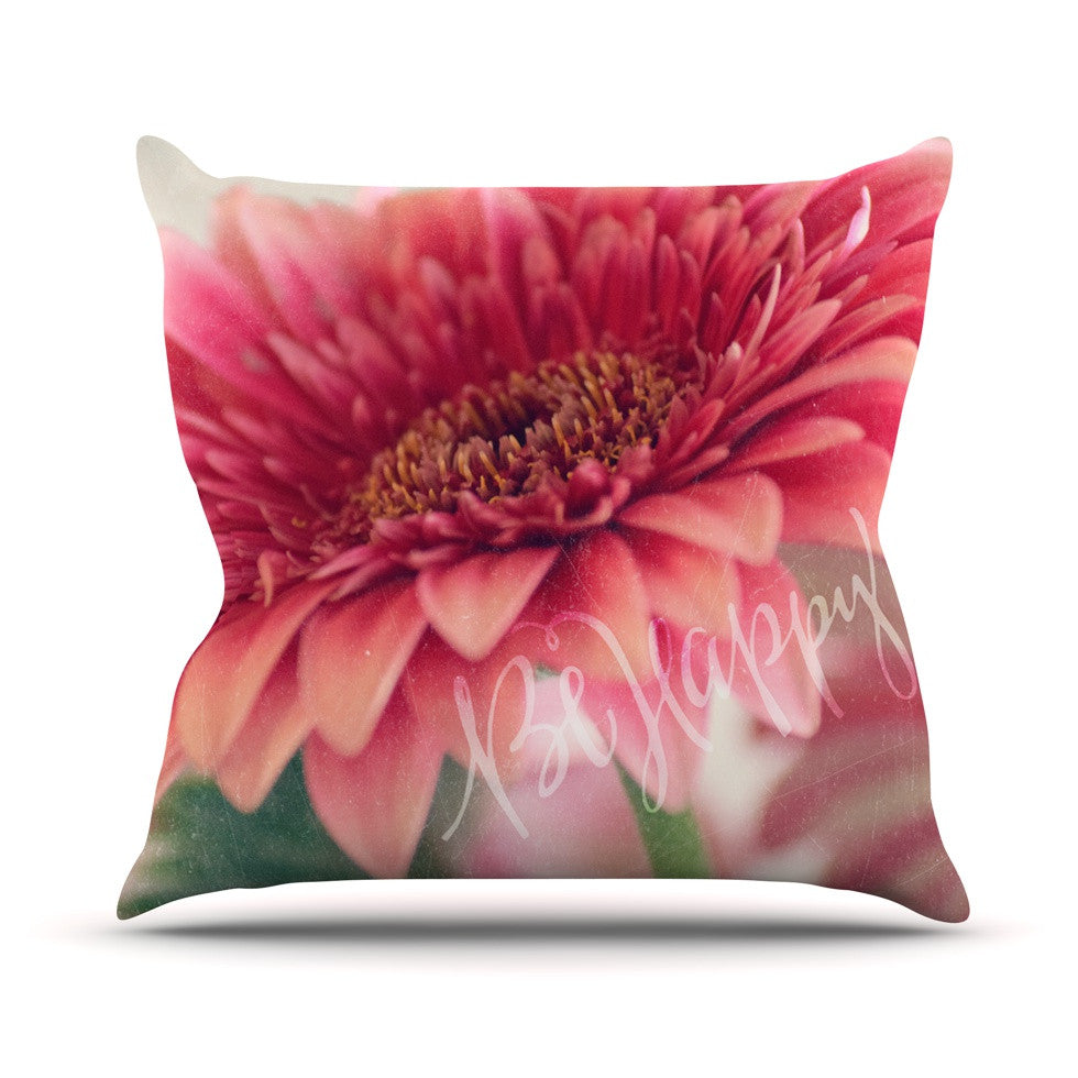 "Robin Dickinson ""Be Happy"" Pink Floral Throw Pillow - KESS InHouse  - 1"